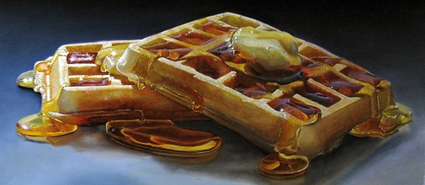 17-Waffles-Mary-Ellen-Johnson-A-Sweet-Tooth-s-Dream-in-Food-Art-Paintings-www-designstack-co