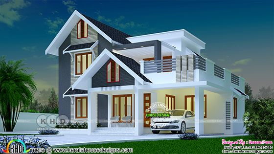 1970 sq-ft 4 bedroom mix roof Kerala home