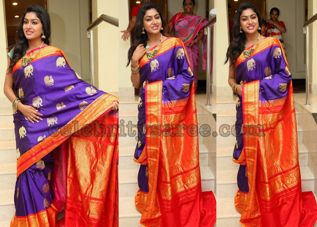 Sai Akshata in Purple Silk Saree