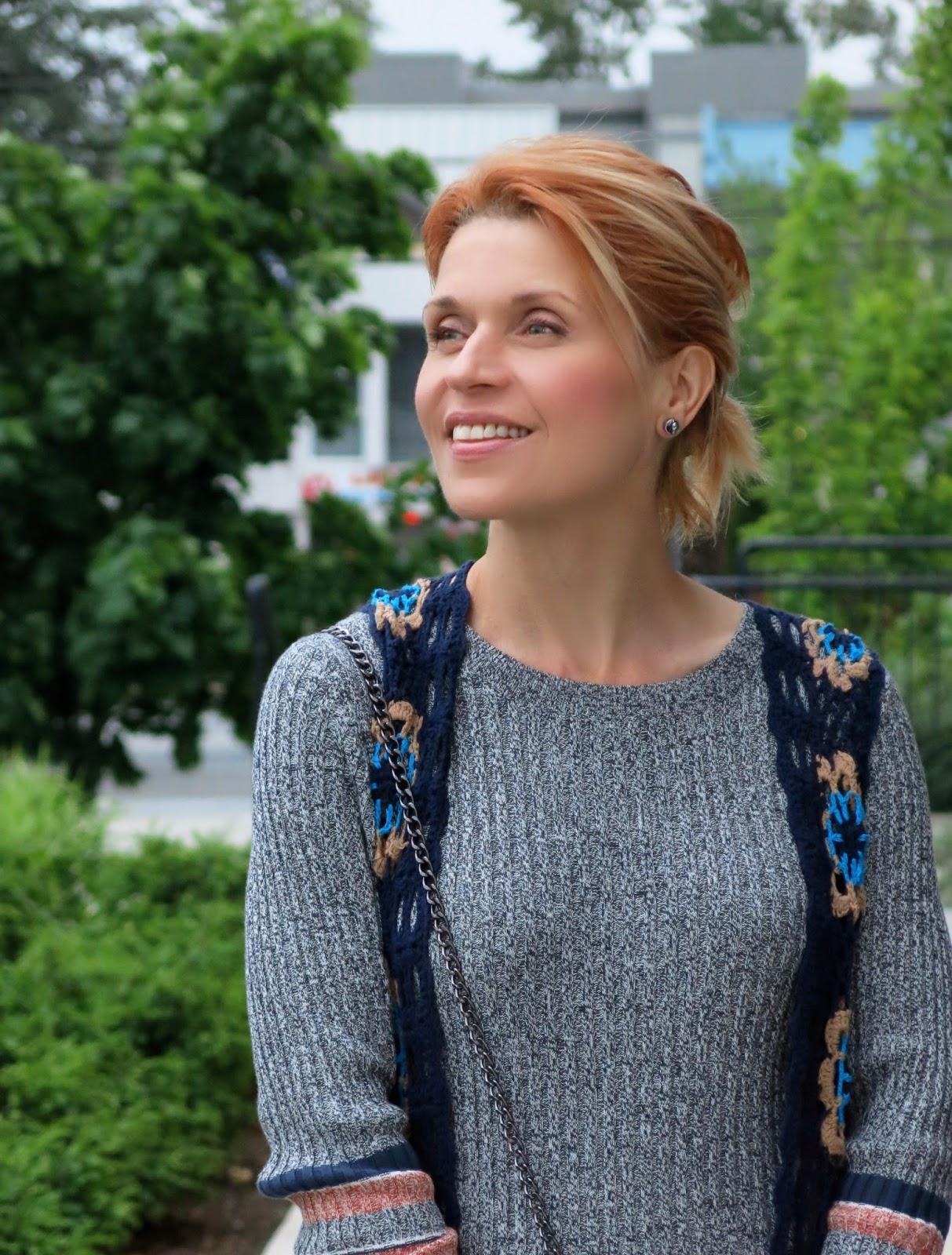sweater dress, crochet vest