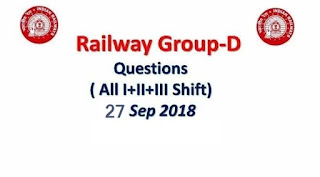 RRB Group D Questions Asked 27th September (All Shifts)