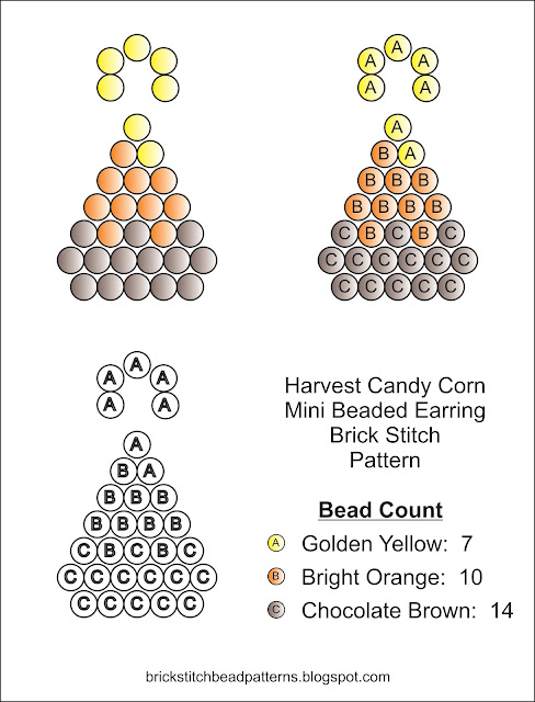Free autumn brick stitch seed bead earring pattern chart download.