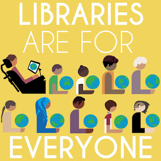 Libraries Are for Everyone sign with images of many different people