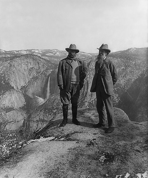 Nature preservationist John Muir with US President Theodore Roosevelt (left) on Glacier Point in Yosemite National Park