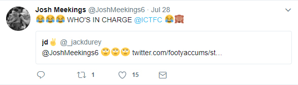 Even former Inverness Caledonian Thistle defender Josh Meekings trolls his own club