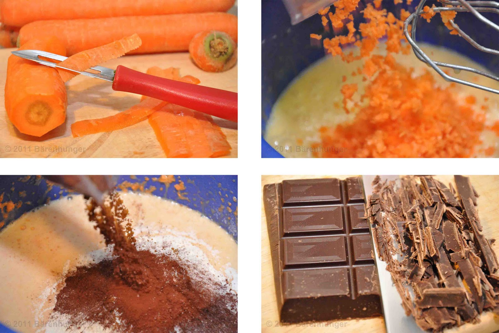 karotten schokoladen kuchen b renhunger. Black Bedroom Furniture Sets. Home Design Ideas