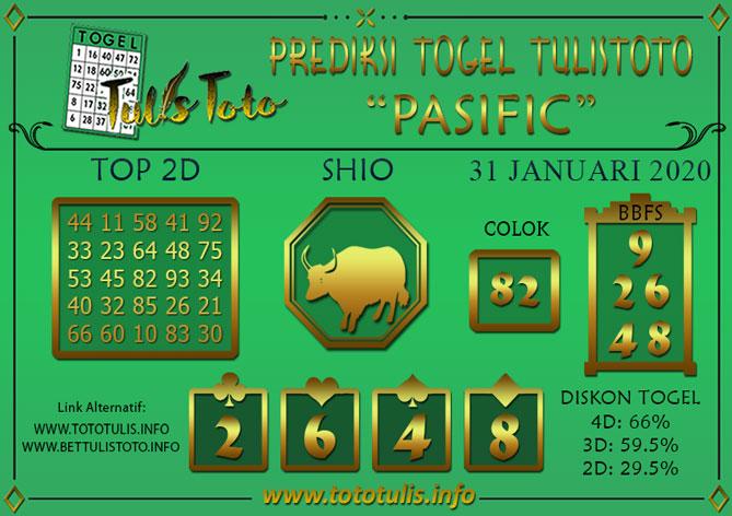 Prediksi Togel PASIFIC TULISTOTO 31 JANUARI 2020