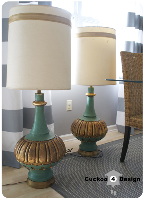 Holy lamps they are big cuckoo4design gold and turquoise hollywood regency lamps aloadofball Images