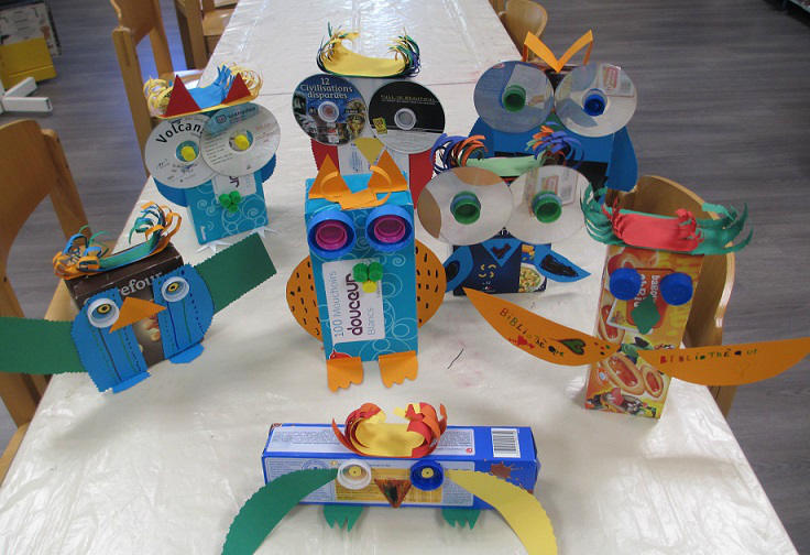 Recylce waste materials school project toys for kids, interesting school projecct ideas picture