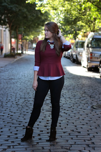 plum peplum, ralph lauren oxford, preppy outfit