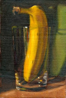 Oil painting of a banana upright in a cider glass with a green background.