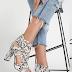 Sandale albe de zi cu imprimeu piele de sarpe si toc gros ieftine