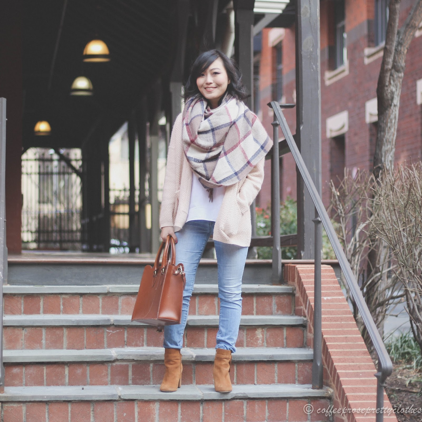 Plaid Scarf, Sole Society Flynn booties, ASOS scallop bag
