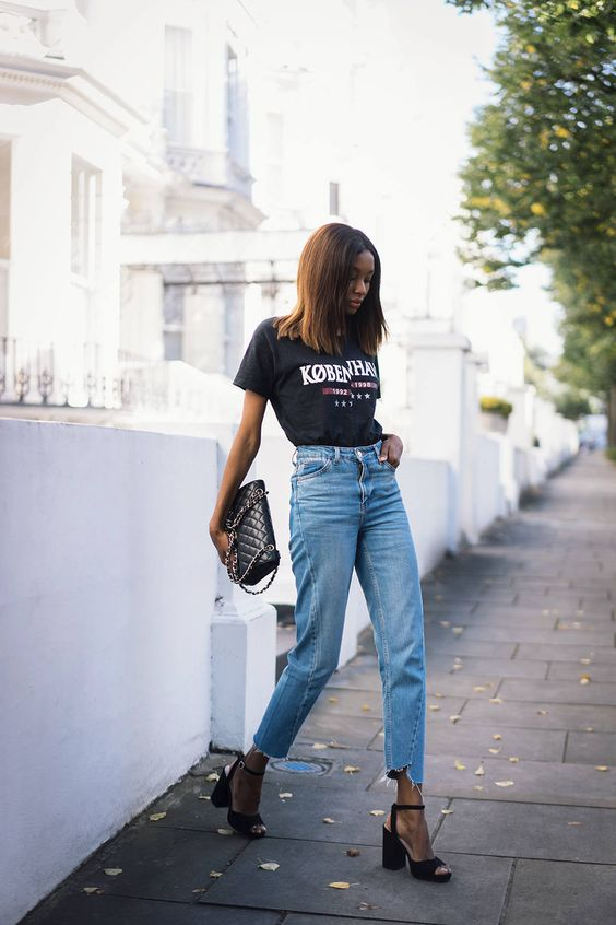 Bisous Natasha - High Waist Destroyed Hem Jeans + Vintage T-Shirt + Chanel Bag