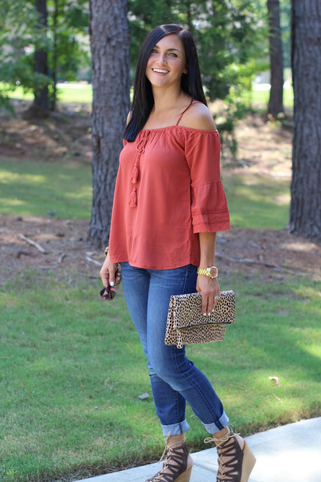 Cold Shoulder crochet top, pantone Potters clay, leopard clutch