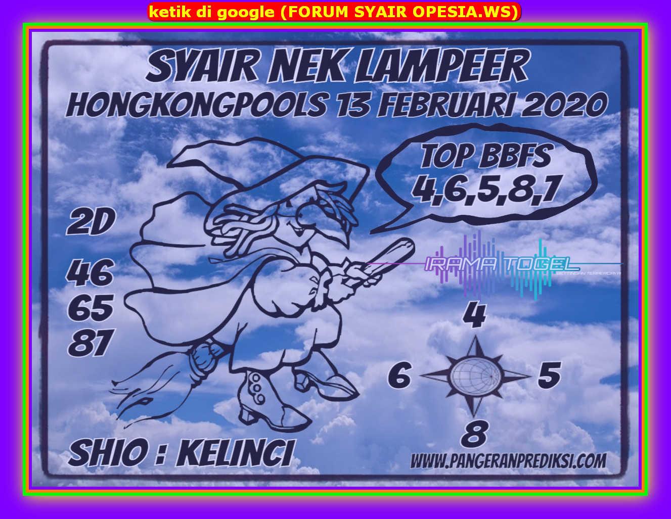 Kode syair Hongkong Kamis 13 Februari 2020 106