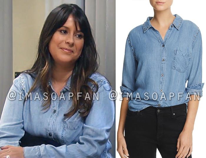Robin Scorpio-Drake, Kimberly McCullough, Studded Chambray Shirt, Rails, General Hospital, GH