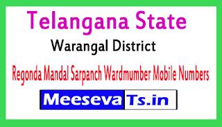 Regonda Mandal Sarpanch Wardmumber Mobile Numbers Part 1 List Warangal district n Telangana State