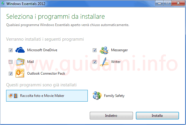 Windows Essential 2012 seleziona programmi da installare