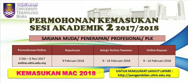 Permohonan Kemasukan ke UiTM Sesi Akademik 2 2017/2018