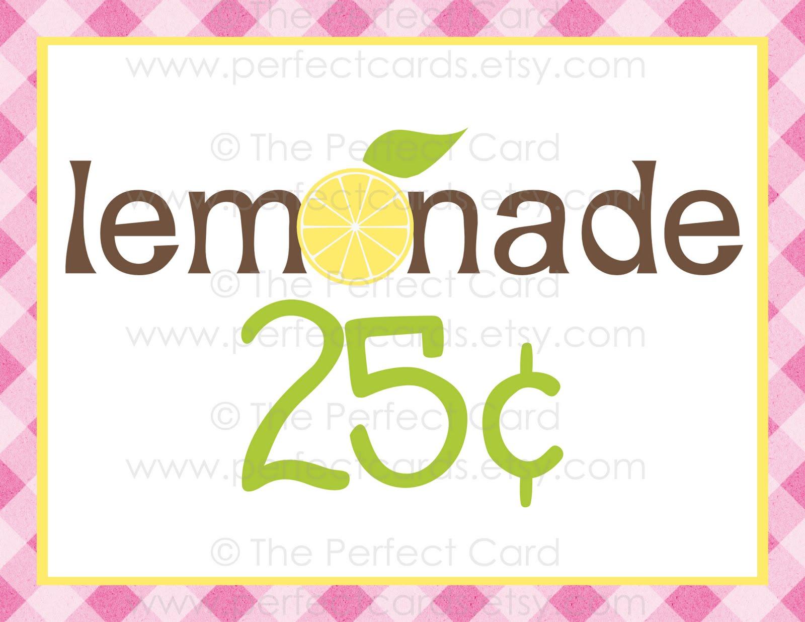 The Perfect Card: Lemonade Stand Printable Set GIVEAWAY!Lemonade Sign Free