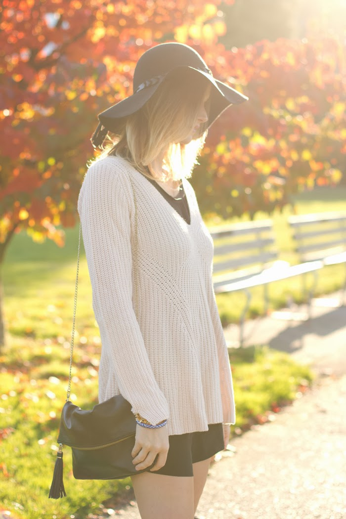 Vancouver fashion blogger, Alison Hutchinson, is wearing an aritzia black romper, a rose sweater from Zara, black Sam Edelman Boots with buckles, a black felt hat from zara and a black bag from H&M