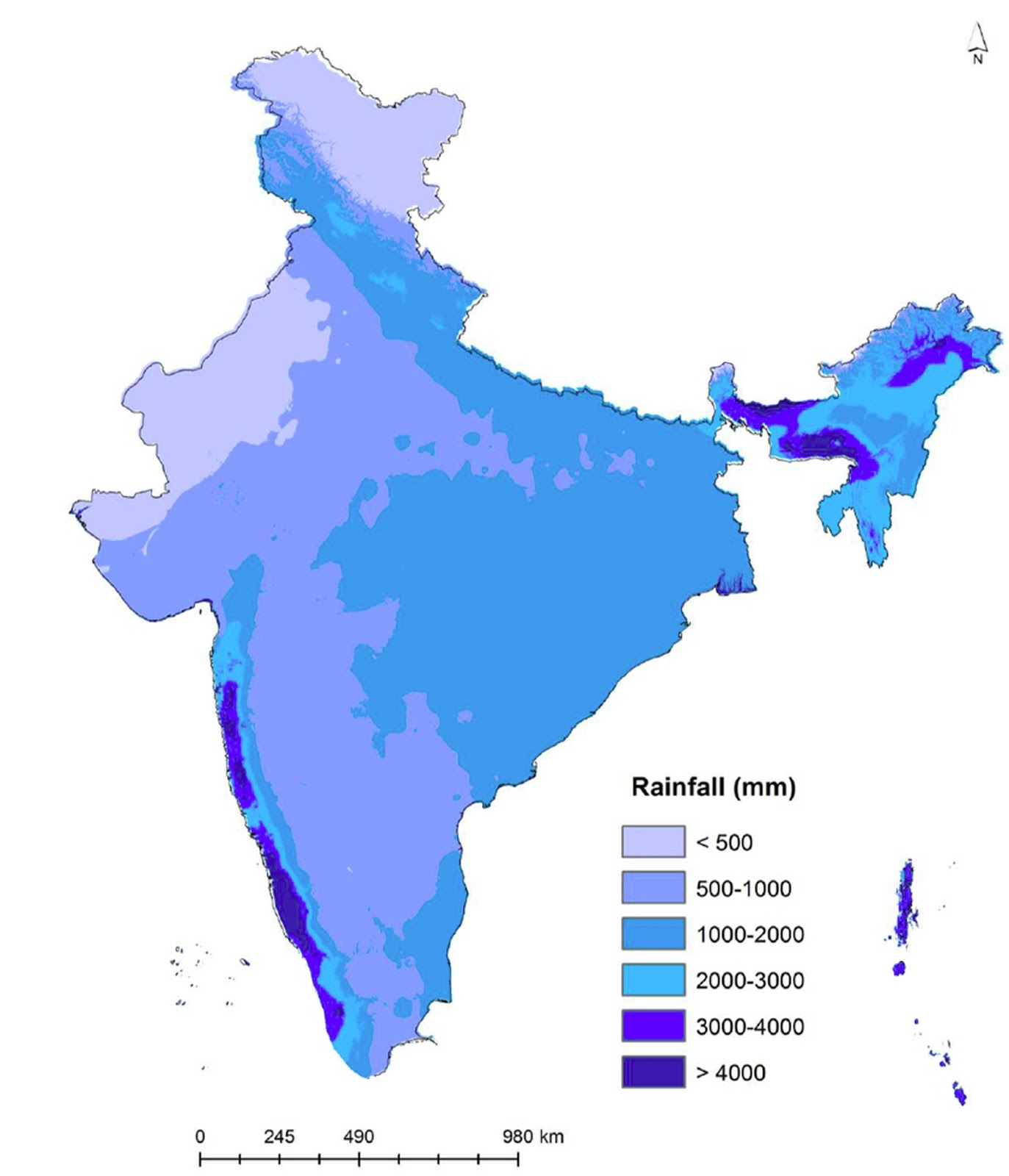 Annual rainfall map of India