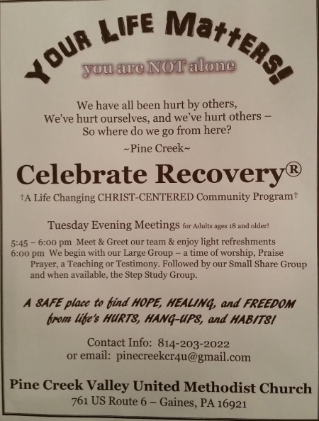 Every Tuesday Celebrate Recovery At Pine Creek Valley Church
