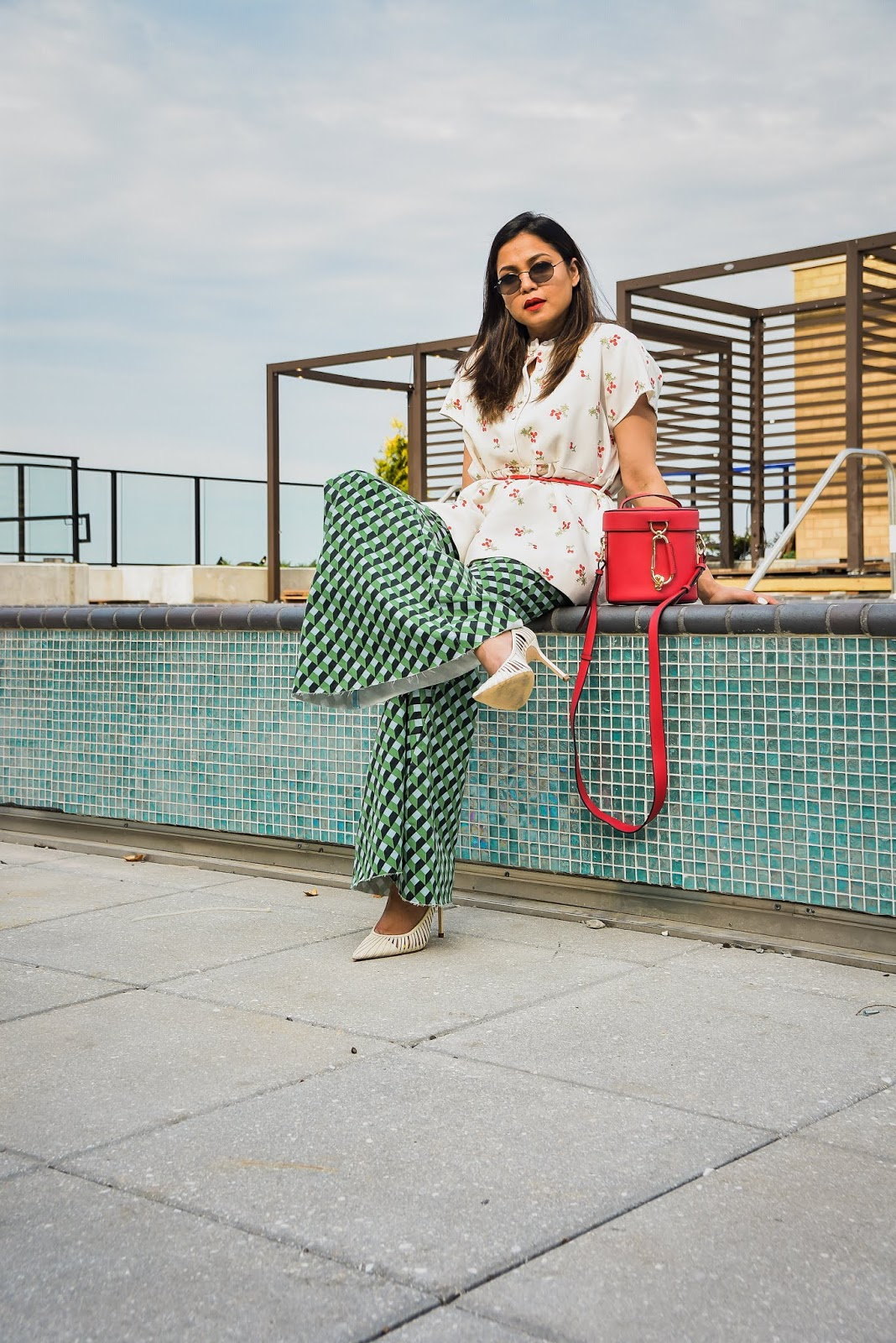 printed jeans, Rent the runway, printed outfit, spring outfit, white peplum top, free people jeans, zac posen red bag, saumya shiohare, myriad musings
