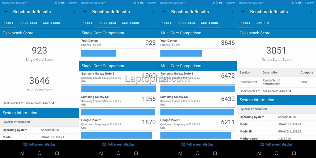 Benchmark Geekbench 4 Honor 9 Lite
