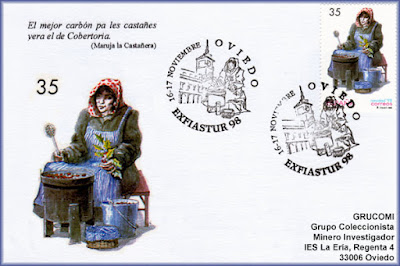 Tarjeta con el matasellos de EXFIASTUR 98 celebrado en Oviedo, homenaje a la Castañera