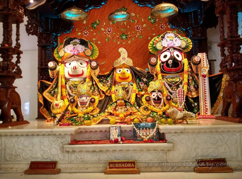 Lord Subhadra, Baldev and Jagannath in ISKCON Chennai Temple