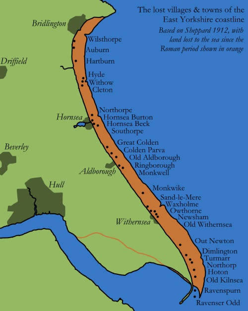 Map Of Yorkshire Coast Caitlin Green: Ravenserodd and other lost settlements of the East  Map Of Yorkshire Coast
