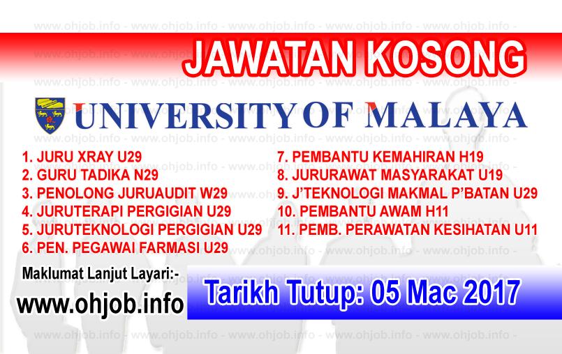 Jawatan Kerja Kosong UM - Universiti Malaya logo www.ohjob.info mac 2017