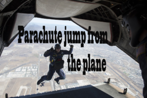 The parachute jump from the plane