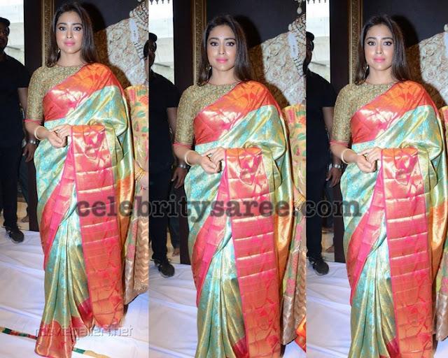 Shriya Saran Green Pink Uppada Saree