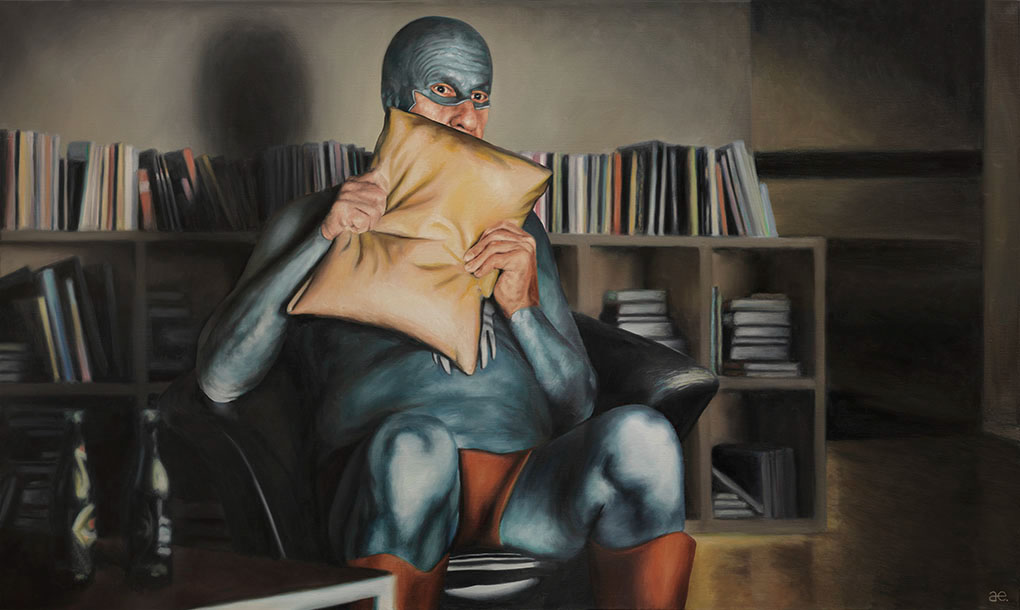 13-Andreas-Englund-Paintings-of-the-Unglamorous-Side-of-a-Superhero-www-designstack-co