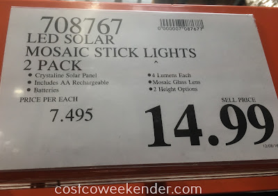 Deal for a 2 pack of Manor House LED Solar Mosaic Stick Lights at Costco