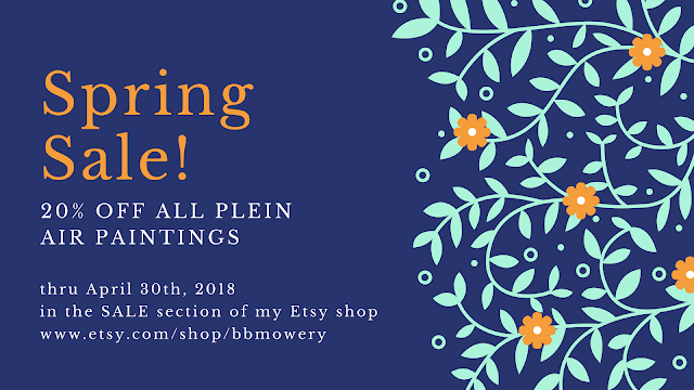 Artist Barb Mowery has marked down her outdoor paintings 20% for the month of April 2018.