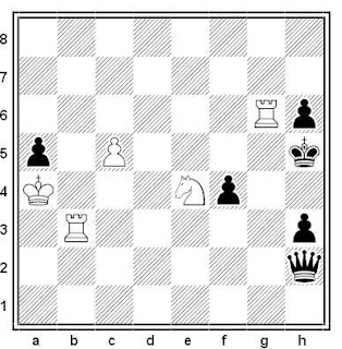 Estudio artístico de ajedrez compuesto por Zoilo R. Caputto (Recomendado, Schakend Nederland 1988)