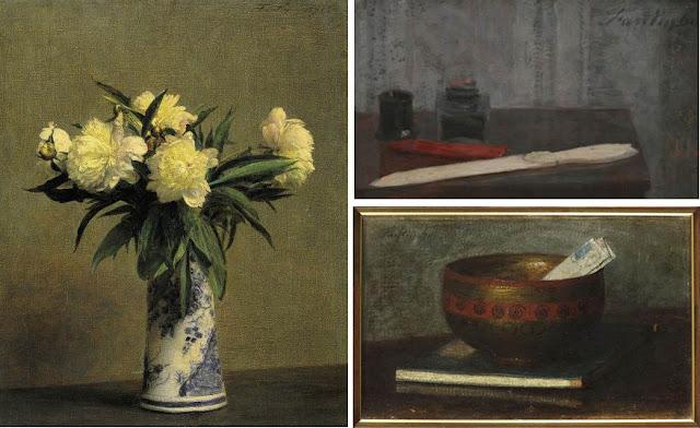 Henri Fantin-Latour : Bouquet de pivoines, Sébile Japonaise posée sur un livre japonais, Nature morte au coupe-papier