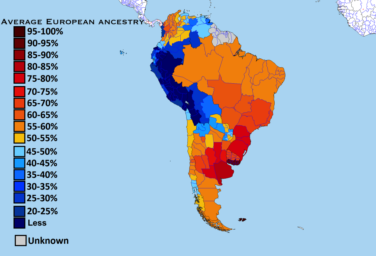 European ancestry in South America by subnational entities