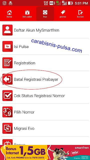 menu Unreg Kartu pada aplikasi Mysmartfren
