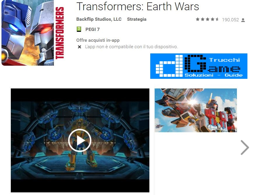 Trucchi Transformers: Earth Wars Beta  Mod Apk Android v1.39.0.16523