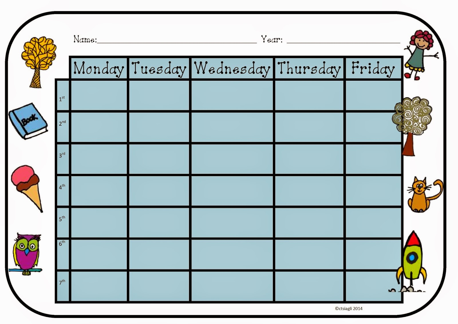 I Teacher Printable Weekly Timetables