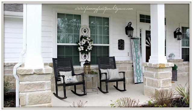 Farmhouse Front Porch-Suburban Farmhouse-Early Spring Porch-Rocking Chairs-From My Front Porch To Yours
