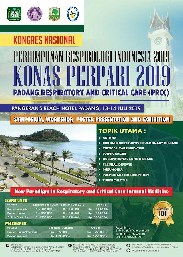 """Simposium dan Workshop """"KONAS PERHIMPUNAN RESPIROLOGI INDONESIA 2019 (PADANG RESPIRATORY AND CRITICAL CARE (PRCC))"""" pada tanggal 13- 14 Juli 2019 di Pangeran Beach Hotel Padang."""