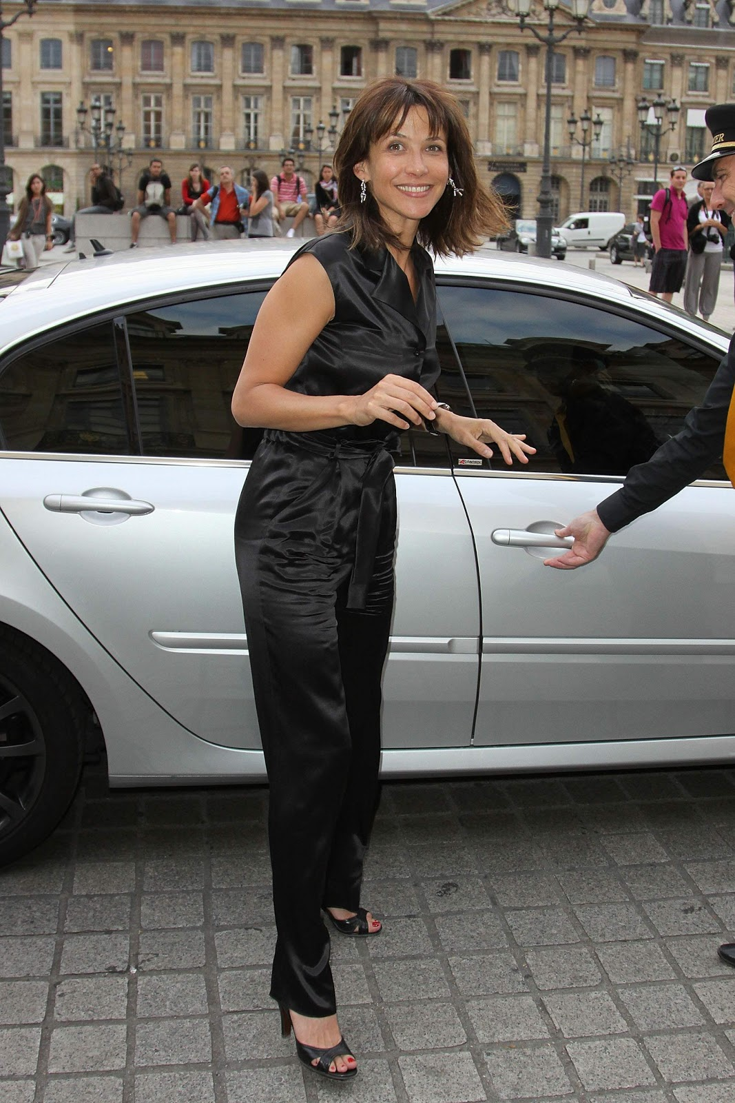 ladies in satin blouses sophie marceau sleeveless black