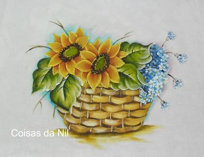 pano de copa com pintura de cesta com girassóis