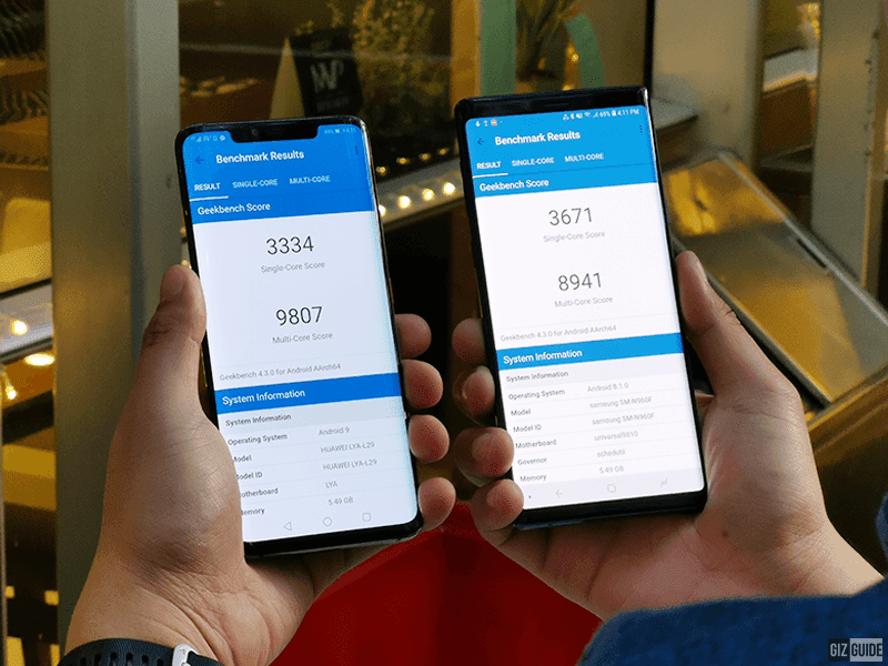 Geekbench scores of both phones